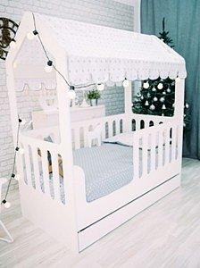 Детская кровать-домик ЛДСП с ящиком белый