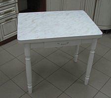 Стол раскладной Ломберный с ящиком (пластик, ножки дерево) белый