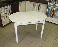 Стол раскладной Овальный (пластик, ножки дерево) белый