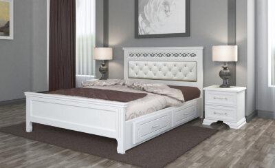 Кровать двуспальная Грация с ящиками Браво-мебель